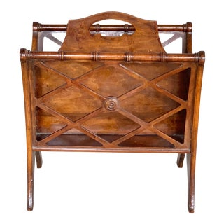 1980s Faux Bamboo Magazine Rack For Sale