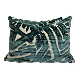 """Graffiti Cut Velvet in Teal 18""""x24"""" Pillows-A Pair For Sale"""