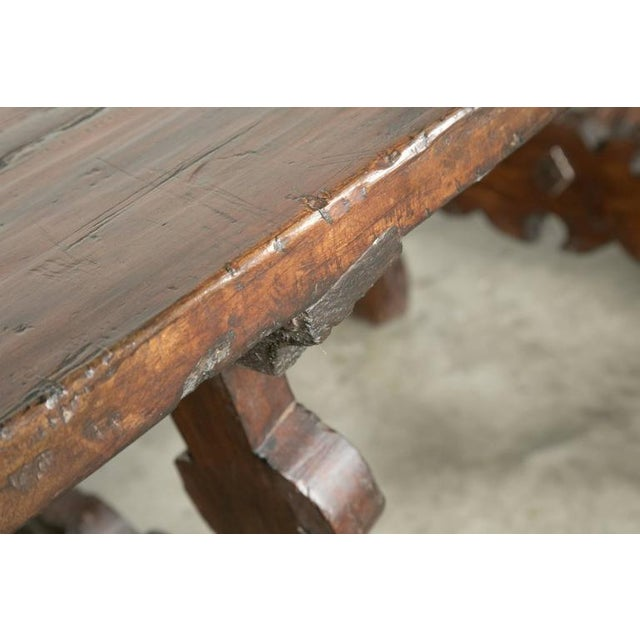 Early 19th Century Early 19th Century Italian Baroque Style Walnut Trestle Dining Table For Sale - Image 5 of 10