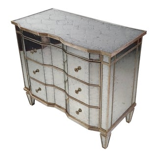 John-Richard Hollywood Regency Mirror Chest Dresser with Silver Leaf Trimmings For Sale