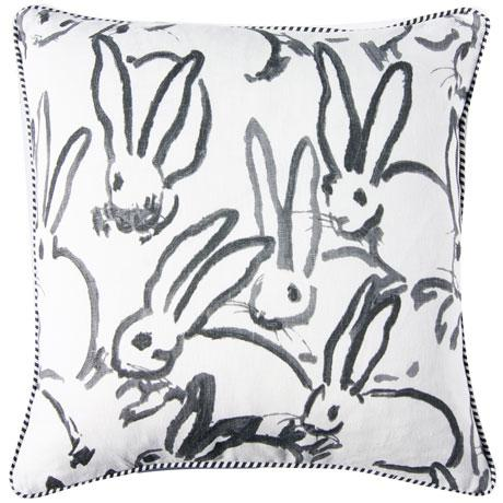 This whimsical bunny printed fabric is called HUTCH PRINT in BLACK by Groundworks for Kravet. The back side has...