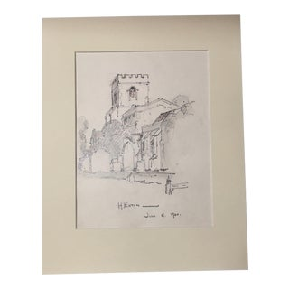 1920s Vintage Walter E. Church English Landscape Pencil Drawing - Hexton, England For Sale