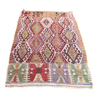 "Turkish Old Sivas Kilim Rug - 3'5"" X 4'9"" For Sale"