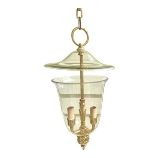 English Traditional Style Hand Blown Pierced Brass Bell Jar Pendant Light For Sale