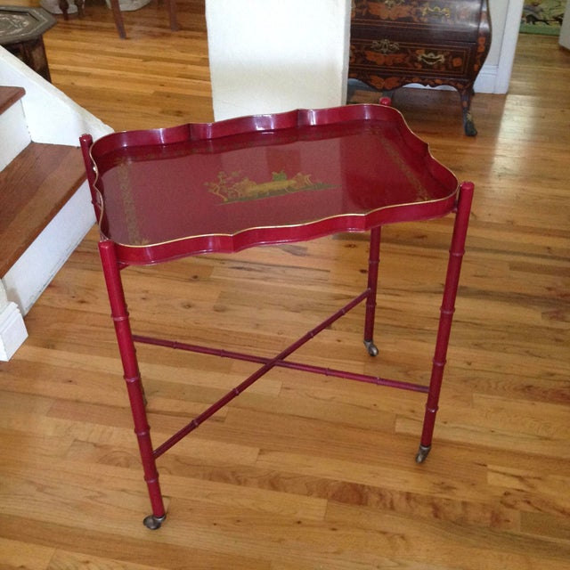 Superb Chinoiserie Style Tole Tray Table on Original Stand For Sale - Image 13 of 13