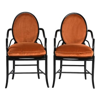 Mid-Century Ebonized Bentwood Armchairs With Orange Velvet Upholstery - a Pair For Sale