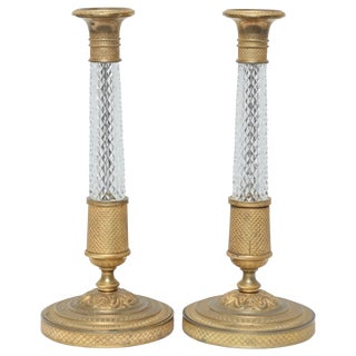 Superb Pair of Empire Bronze Candlesticks For Sale