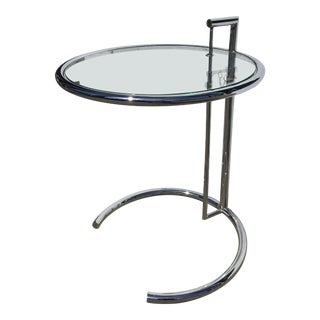 1970s Minimalist Eileen Gray Chrome and Glass Side Table For Sale