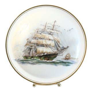 Decorative Ship Plate & Easel For Sale
