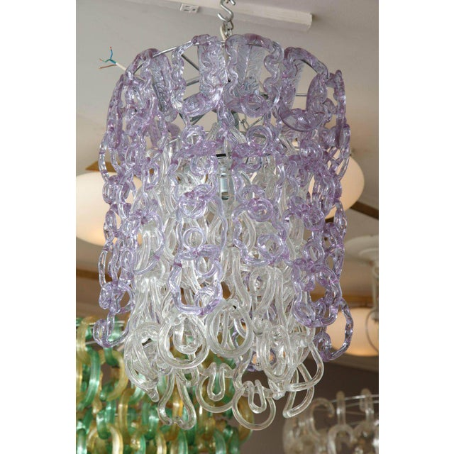1960s Vintage Vistosi Lavender and Clear Murano Link Chandelier For Sale - Image 5 of 8