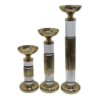 Large Scale Fluted Brass and Lucite Candlesticks by Dolbi Cashier, 1987 - Set of 3 For Sale