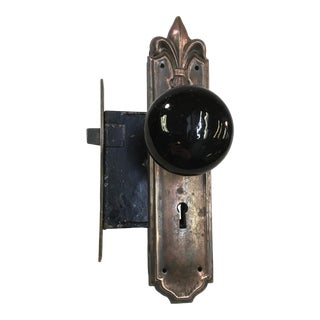 Late 19th Century Victorian Yale & Towne Mortise Lock With Door Knobs For Sale