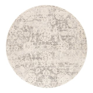 Jaipur Living Alonsa Abstract Gray White Round Area Rug 8'X8' For Sale