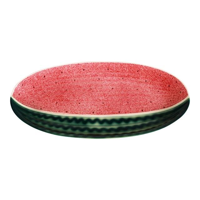 Vintage Ceramic Hand Painted Watermelon Serving Platter For Sale