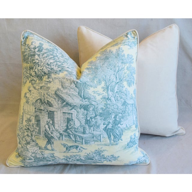 """French Farmhouse Country Toile Feather/Down Pillows 24"""" Square - Pair For Sale - Image 11 of 13"""