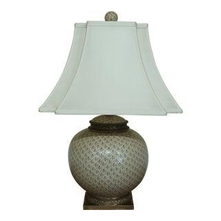 Currey & Co Porcelain & Brass Ginger Jar Style Lamp For Sale