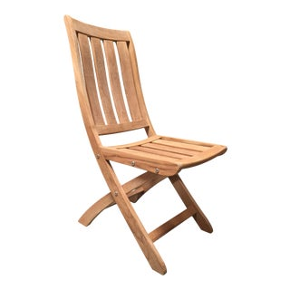 Cambria Outdoor Teak Folding Dining Chair For Sale