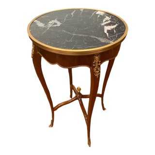 Louis XV French Style Accent Table With Marble Top For Sale