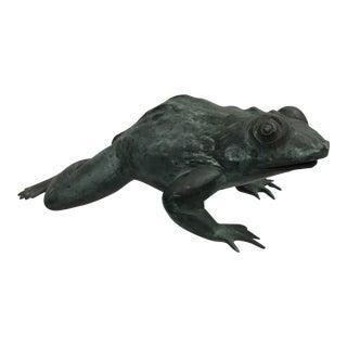 1970s Vintage Cast Bronze Bull Frog Statue For Sale