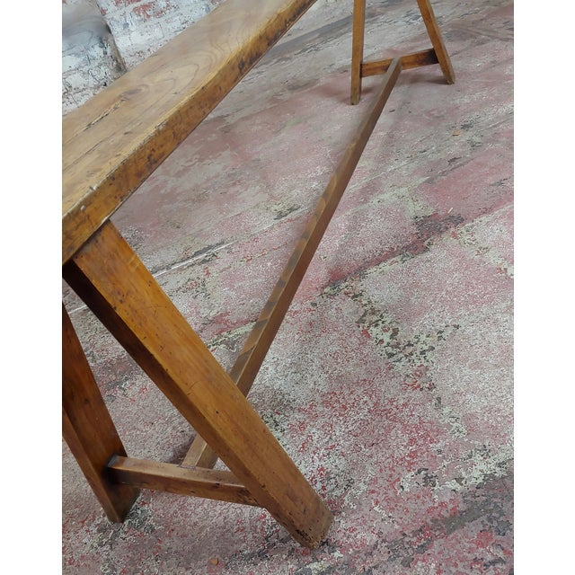 19th Century Antique Walnut Farm Bench For Sale - Image 9 of 11
