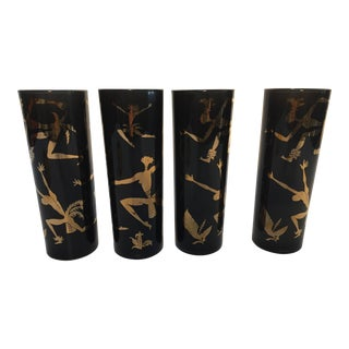 "Vintage ""Black Americana Exotic Dancers"" Black & Gold Glasses - Set of 4 For Sale"
