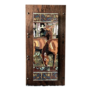 "Art Deco ""Alert"" Elk Tile Wall Hanging For Sale"