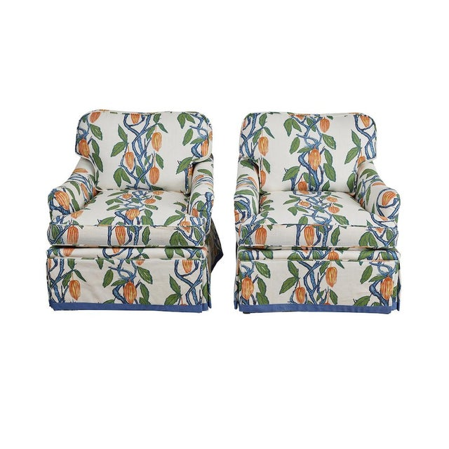 1990s Kavet Club Chairs in Ferrick Mason's Blue Orange Cacao - a Pair For Sale - Image 9 of 9