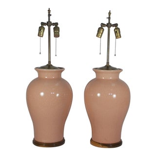 Mid-Century Peach Crackle Glaze Pottery Jar Table Lamps - a Pair For Sale