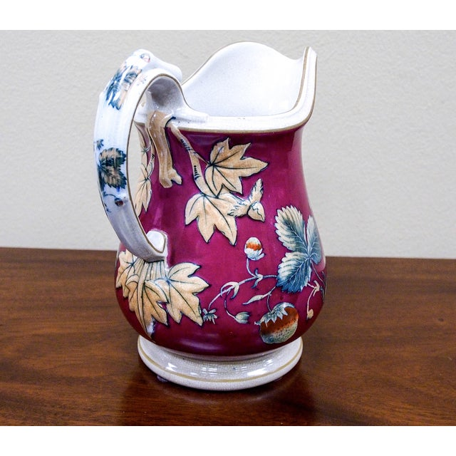 19th Century Davenport Pottery Strawberry Pitcher - Image 5 of 7