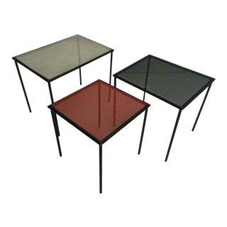 1950s Perforated Metal Mategot Style Dutch Nesting Tables by Floris Fiedeldij