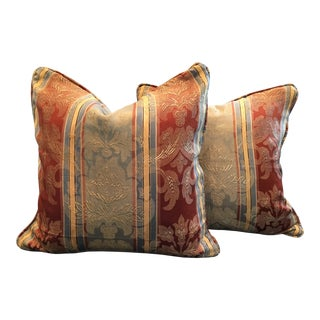 Vintage Silk Damask Fabric Pillows - A Pair For Sale