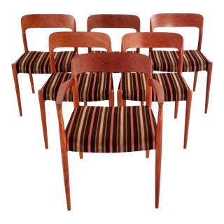1960s Vintage Niels Moller 56 Danish Moder Teak Dining Chairs- Set of 6 For Sale