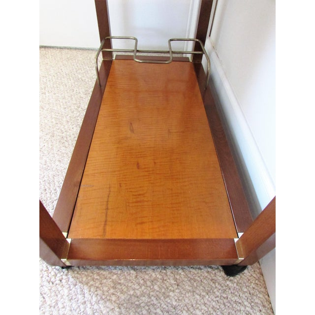 Mid Century Wood & Brass Bar Cart - Image 5 of 10