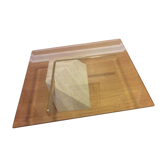 Mid-Century Travertine Glass Coffee Table - Image 1 of 5