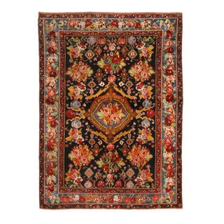 19th Century Traditional Bakhtiari Red and Black Wool Persian Rug With Carnations For Sale