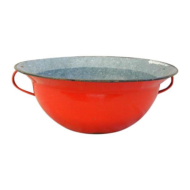 Jumbo Red European Enamelware Harvest Bowl - Image 1 of 8