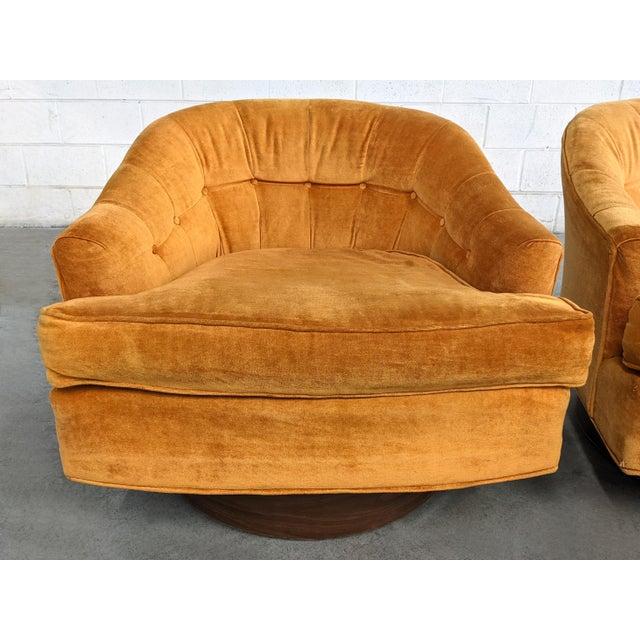 Milo Baughman Mid Century Modern Walnut Base Swivel Club Chairs - a Pair For Sale - Image 4 of 10