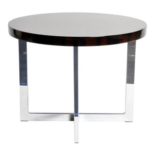 French Round Low Table with Metal Legs For Sale