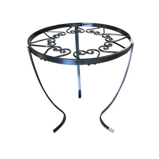 Round Heart Cluster Glass Top Steel Outdoor/Patio Side Table For Sale