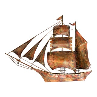 Copper & Brass Sailboat Wall Decor For Sale