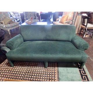 Donghia Loveseat Sofa Upholstered in Rose Cumming Dark Green Diamond Cut Velvet Preview