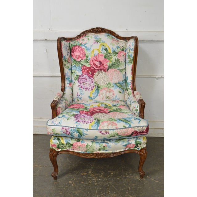 Meyer Gunther Martini Custom Floral Upholstered French Louis XV Style Bergere Wing Chair For Sale - Image 11 of 11