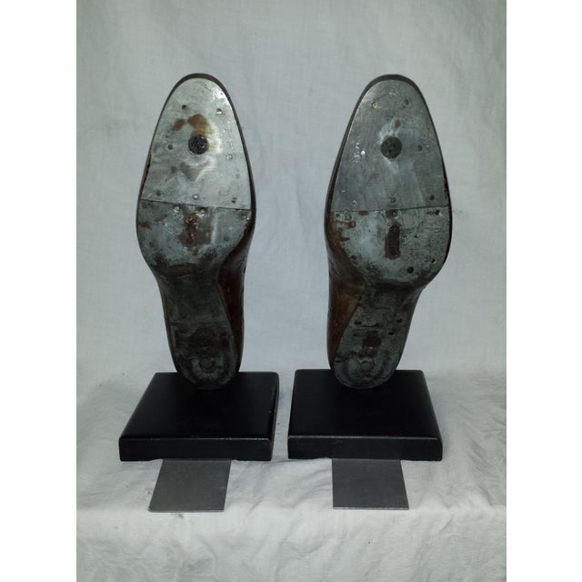 Brown Antique Wooden Shoe Form Bookends - A Pair For Sale - Image 8 of 9