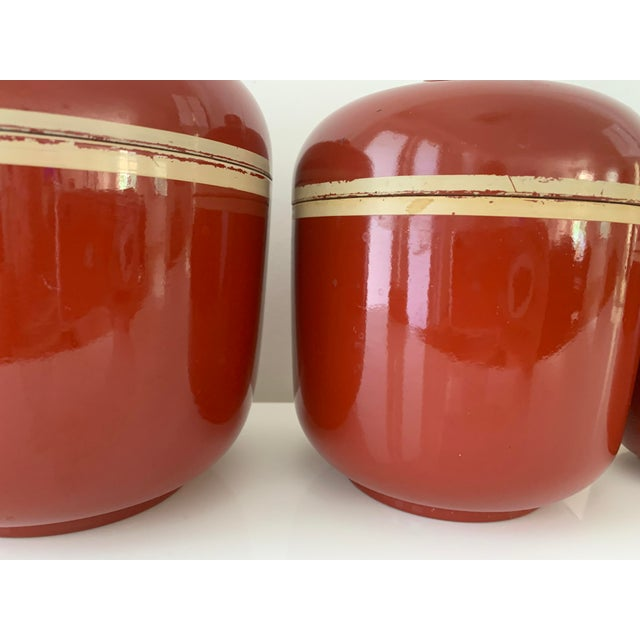 Brick Red 1980s Vintage Brick Red Lacquer Ware Nesting Jars - Set of 4 For Sale - Image 8 of 13