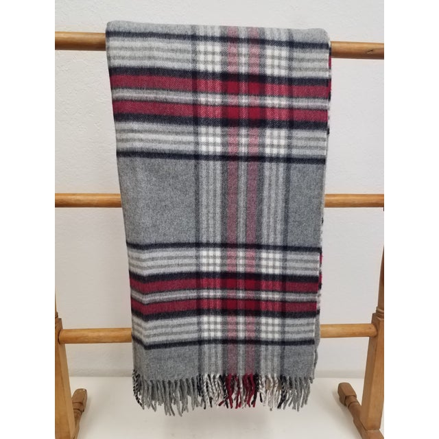 Wool Throw Red Black Gray WHite Plaid - Made in England For Sale - Image 12 of 12
