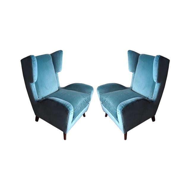 Textile 1960s Teal Velvet Wingback Chairs - a Pair For Sale - Image 7 of 7