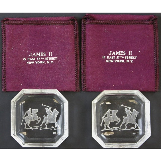 """Octagonal James II Baccarat Crystal """"Polo Player"""" Ashtrays - A Pair - Image 4 of 4"""
