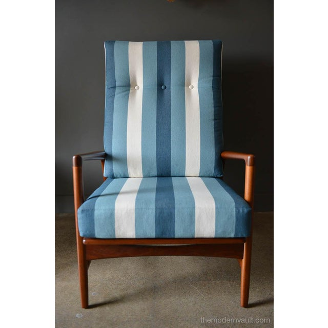 Blue 1960s Vintage I.B. Kofod Larsen for Selig Reclining Chair & Ottoman - 2 Pieces For Sale - Image 8 of 12