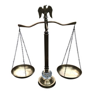 1980's Vintage Brass Scales of Justice For Sale