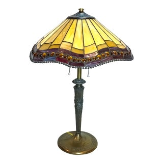 Art Nouveau Stained Glass Miller Table Lamp For Sale